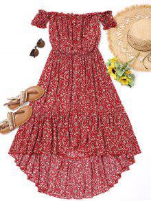 فستان عالية انخفاض طباعة الأزهار المصغرة  - أحمر L