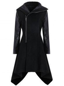معطف الحجم الكبير بجلد اصطناعي - أسود 2xl