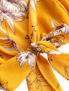 Amarillo Estampada Floral Blusa Estampado Con dIpdznqwF