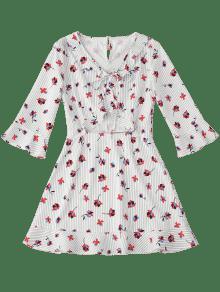Vestido Manga Rayas Florales S Pajarita Flare Con De En Floral TRSTWrY