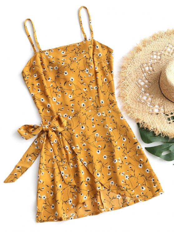 outfits Tiered Bowknot Cut Out Mini Dress - MUSTARD L