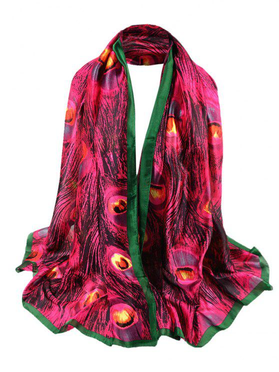 fashion Peacock Feathers Pattern Decorated Sheer Scarf - DEEP ROSE RED
