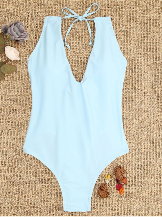 ladies Ties Lace-up One Piece Swimsuit - LIGHT BLUE S