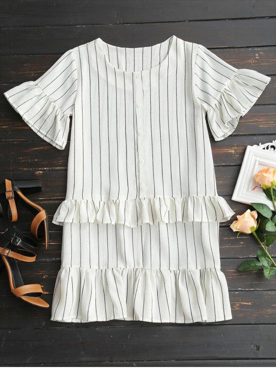 women Flare Sleeve Ruffles Striped Shift Dress - WHITE M