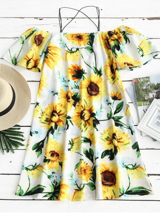 Sunflower Print Cold Shoulder Cami Dress - Floral M