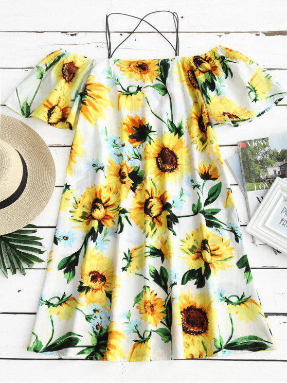 Sonnenblume Druck Kaltes Schulter Cami Kleid - Blumen XL