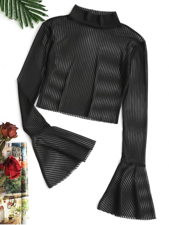 womens Flare Sleeve Striped Sheer Mesh Blouse - BLACK L