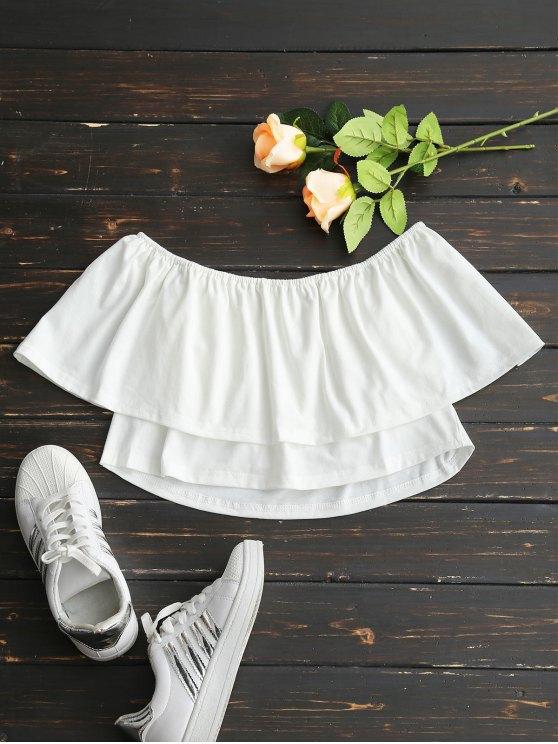 Aus der Shouler Overlay Crop Bluse - Weiß L
