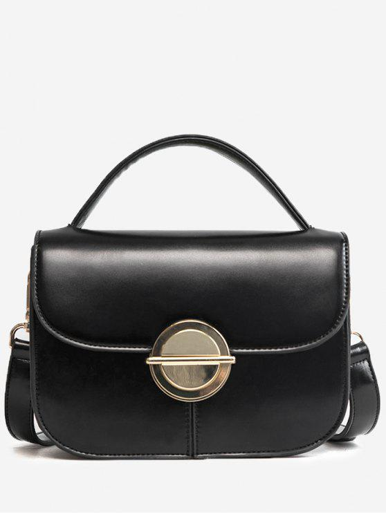 Faux Leather Stitching Metal Crossbody Bag - Preto