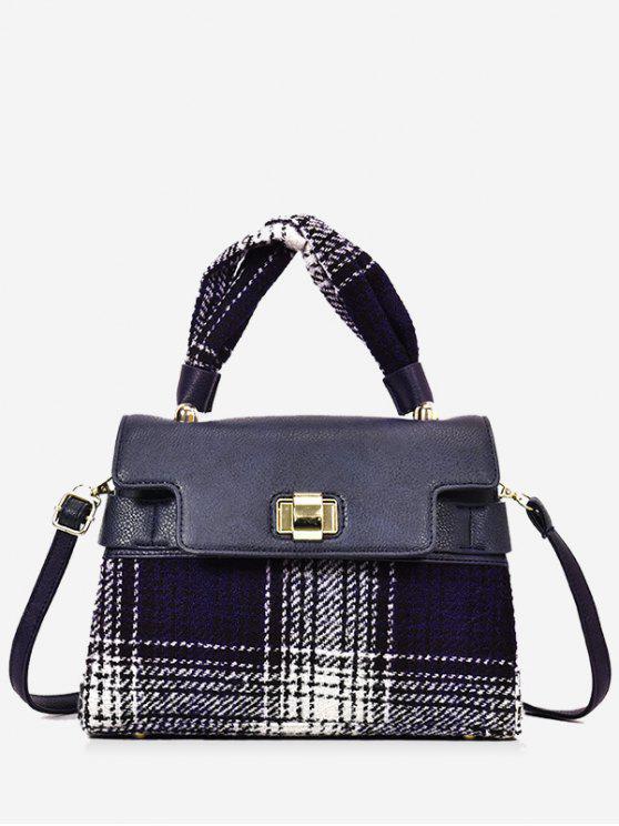 hot Color Blocking Plaid Handbag with Strap - BLUE