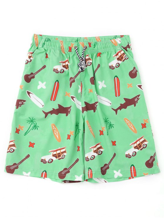 latest Cartoon Print Board Shorts - APPLE GREEN L