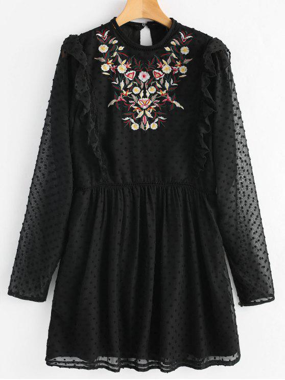 affordable Floral Patched Ruffles Embellished Dress - BLACK S