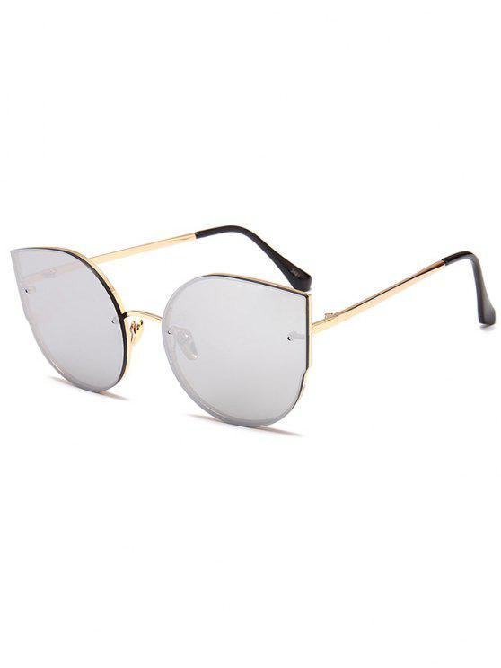 Anti-Fatigue Metal Full Frame Décoration Cat Eye Lunettes de soleil - Reflective Balnc Couleur