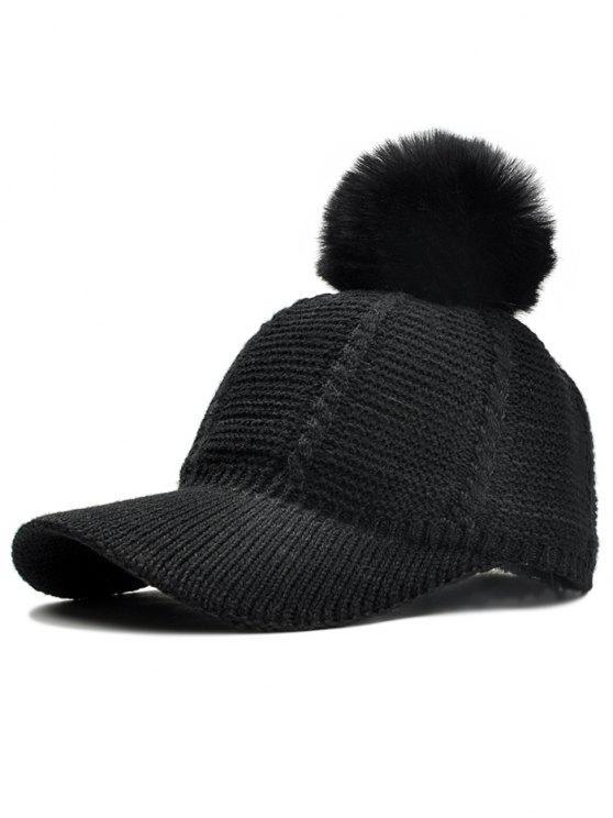 2018 Stripe Pattern Crochet Knitted Pom Pom Snapback Hat In Black