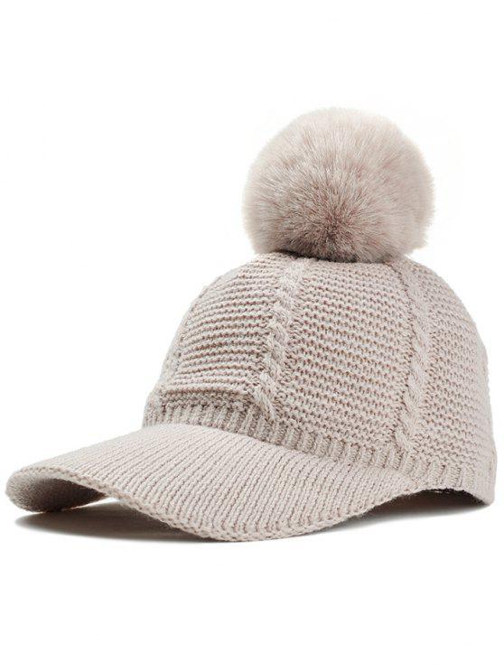 Patrón A Rayas Crochet Punto Pom Pom Sombrero Snapback Beis: | ZAFUL
