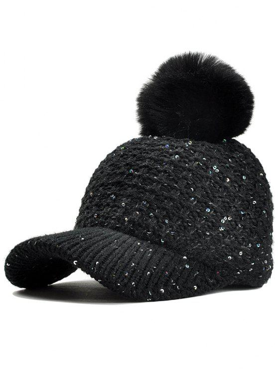 2019 Fuzzy Ball Decorated Sequins Knitted Baseball Cap In BLACK  d89c5d4a39f