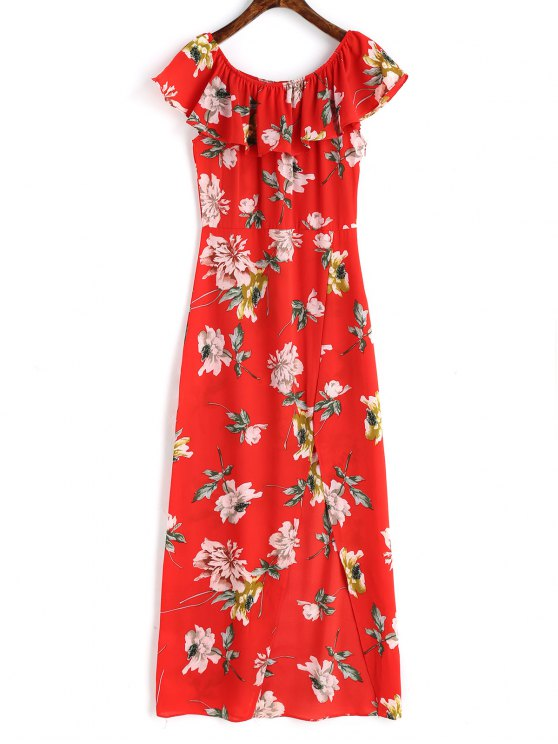 2019 Off Shoulder Side Slit Floral Maxi Dress In RED M  651fc42f86