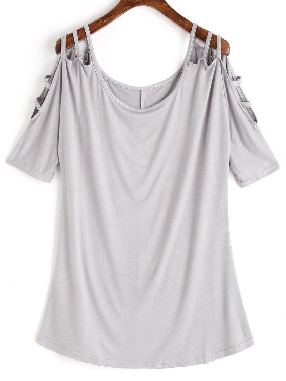 Camisa de Cordão com Corte de Escada - Cinza claro S