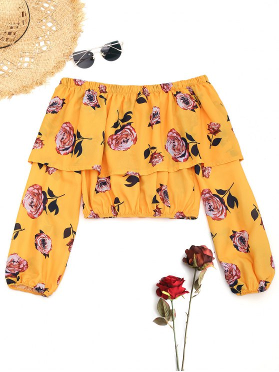 outfits Floral Off The Shoulder Overlay Blouse - YELLOW S