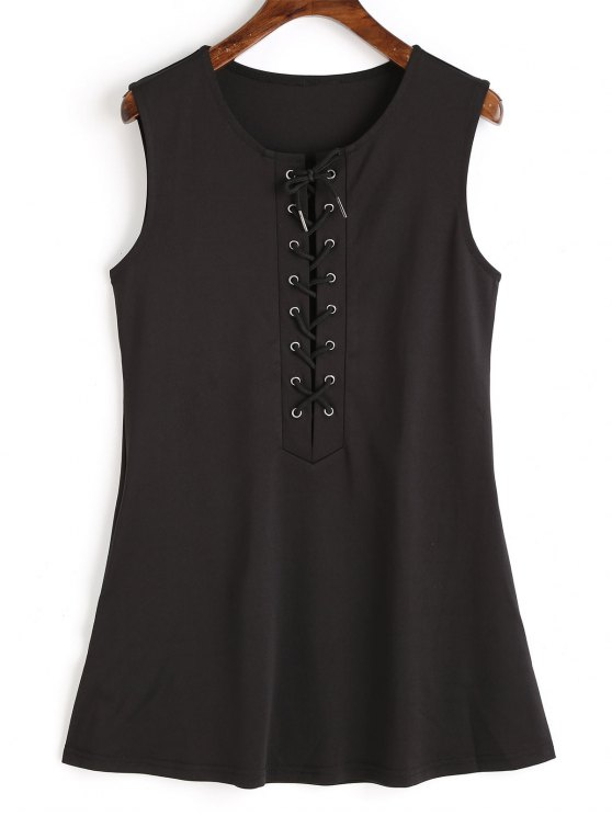 fancy Sleeveless Lace Up Mini Dress - BLACK L