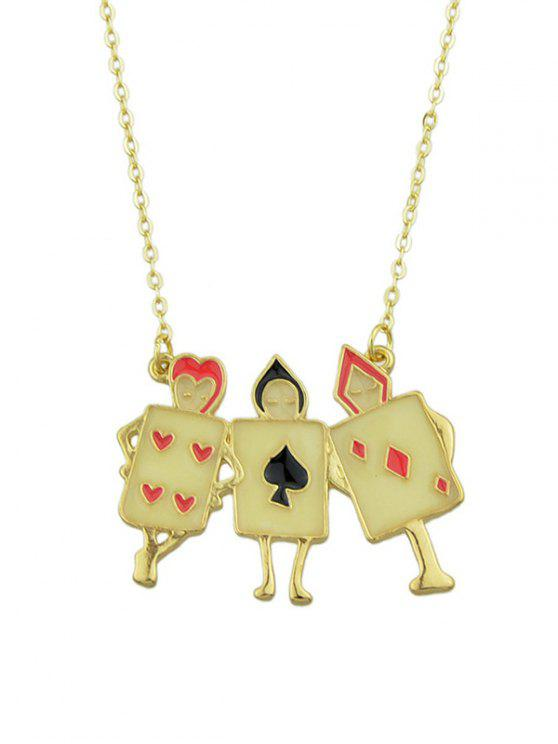 Colar de pingente único para poker geométrico - Dourado
