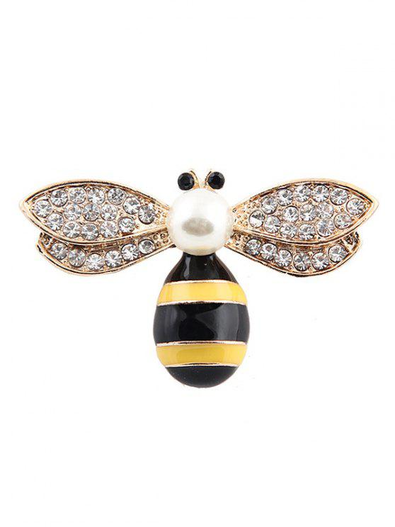 buy Cute Faux Pearl Rhinestone Honeybee Brooch - GOLDEN