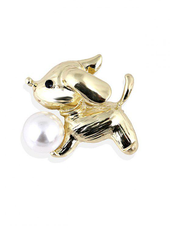 womens Cute Faux Pearl Alloy Puppy Brooch - GOLDEN