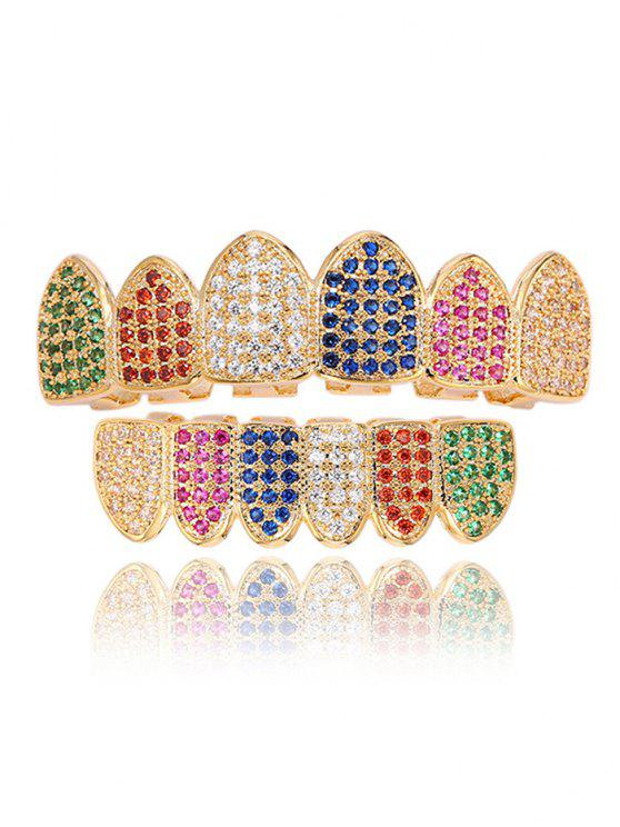 Set Grillz Per Denti Con Top E Bottom Con Diamanti Artificiali Scintillanti - colori misti