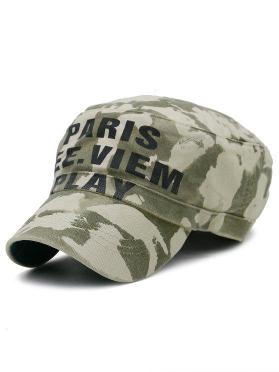 Chapeau Militaire Décoré Motif Camouflage - armée verte