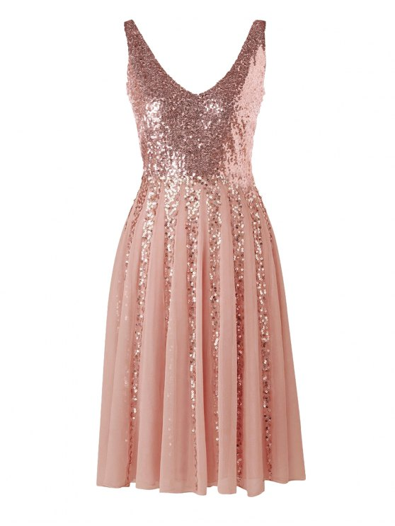 a47369f9a9d4 28% OFF] 2019 Sleeveless Chiffon Sequined Dress In PINK | ZAFUL