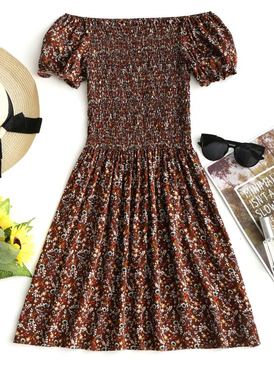 فستان مصغر بلا اكتاف طباعة الأزهار المصغرة سموكيد - قهوة S