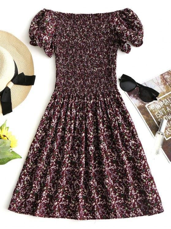 chic Smocked Tiny Floral Off Shoulder Mini Dress - DARK RED S