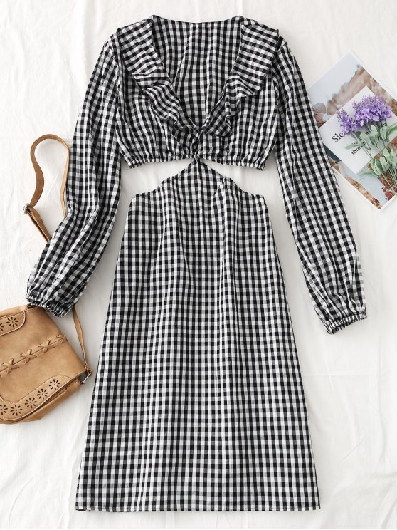 fashion Long Sleeve Cut Out Plaid Midi Dress - CHECKED M