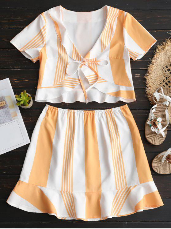 e43e2e1f04 26% OFF  2019 Striped Ruffles Crop Top And Skirt Set In ORANGE