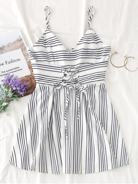 Lace Up Slip Stripes Mini Dress - Branco L