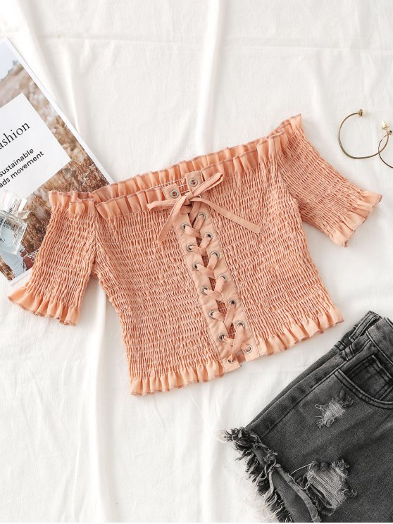shops Smocked Off Shoulder Lace Up Top - NUDE PINK L