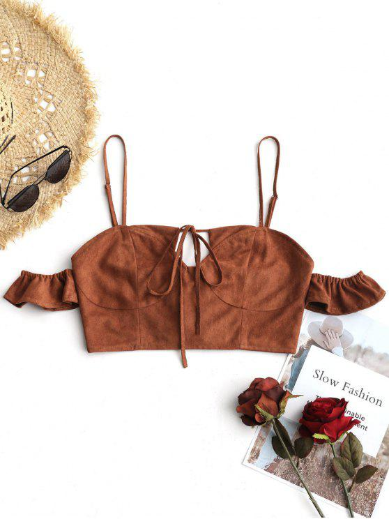 fashion Cropped Cold Shoulder Lace Up Top - COFFEE M