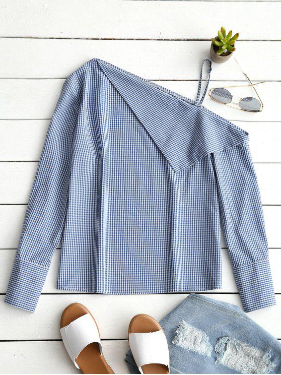lady Skew Collar Long Sleeve Checked Blouse - BLUE XL