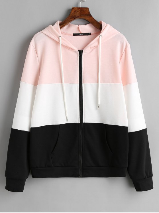 unique Drawstring Zip Up Color Block Hoodie - BLACK XL