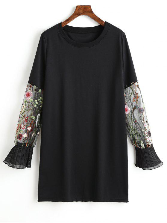 fashion Mesh Sleeve Floral Embroidered Casual Dress - BLACK L