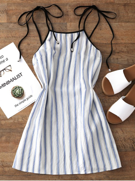 فستان مثبر مخطط مصغر - الضوء الأزرق L