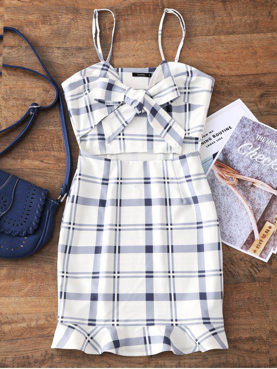 women Cut Out Bowknot Plaid Mini Dress - WHITE L
