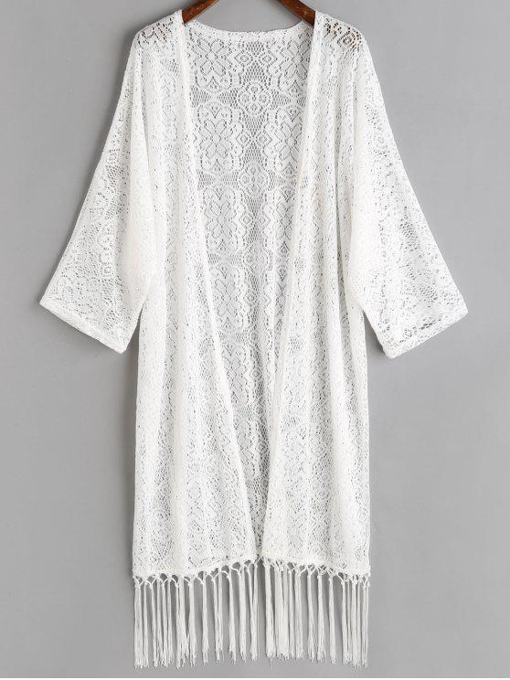 unique Tassels Crochet Kimono Cover Up - WHITE ONE SIZE