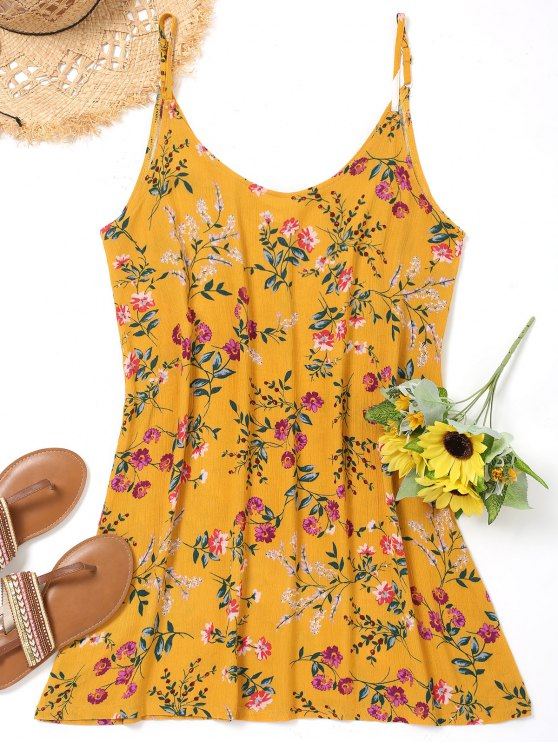 online Cami Floral Cover Up Dress - YELLOW XL