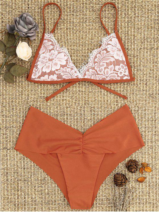 online Lace Overlay Scrunch Butt Bikini Set - BRICK-RED L