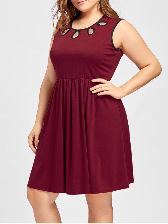 فستان ذو فتحات بلا أكمام - نبيذ أحمر 5XL