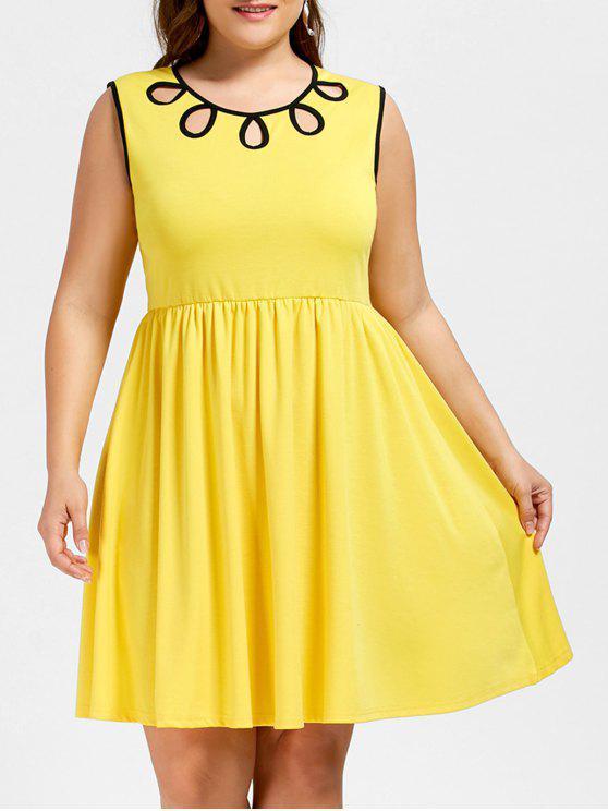 زائد حجم قطع أكمام اللباس - الأصفر 2XL