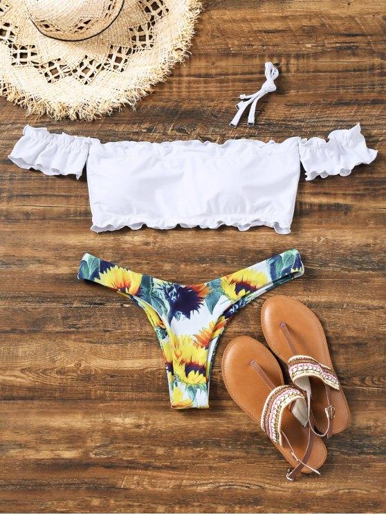 best Sunflower Off Shoulder Lettuce Hem Bikini - WHITE L