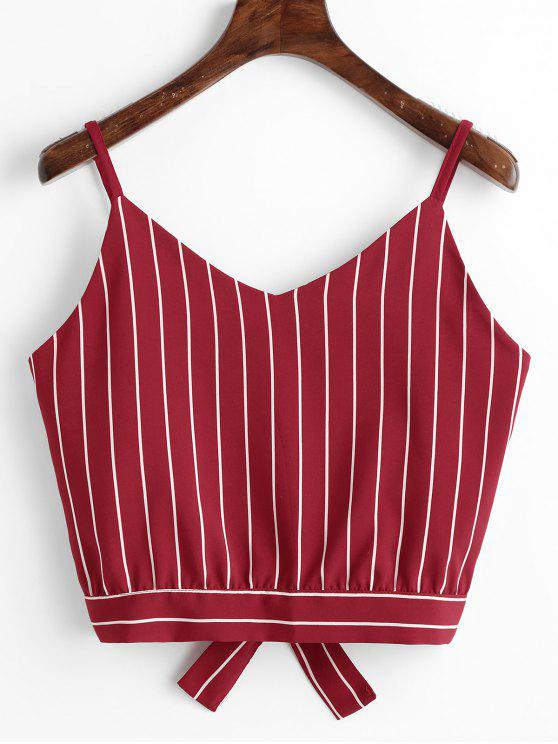 fashion Bowknot Stripes Cut Out Cropped Tank Top - WINE RED M