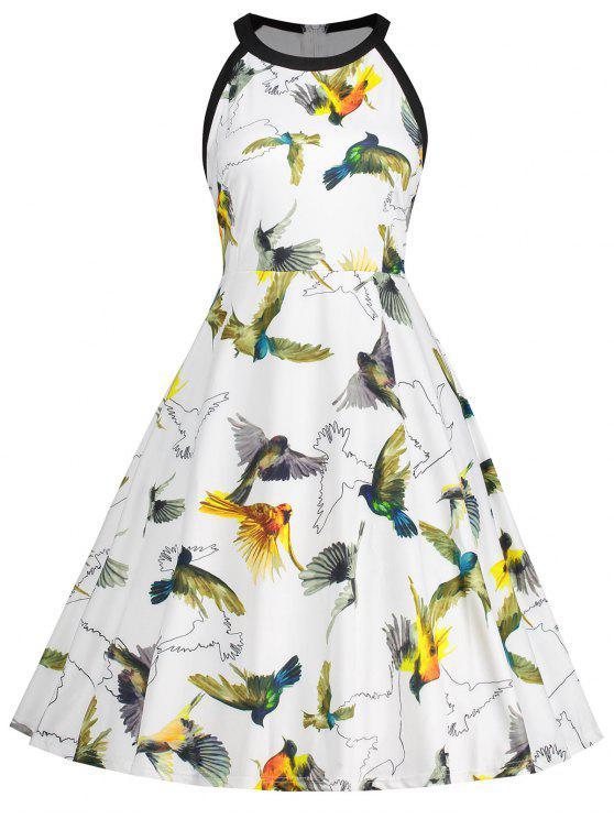 زائد حجم الطيور طباعة سوينغ اللباس - أبيض 5XL
